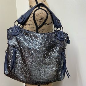 Miss Gustto Sequin Faux Leather Shoulder Bag